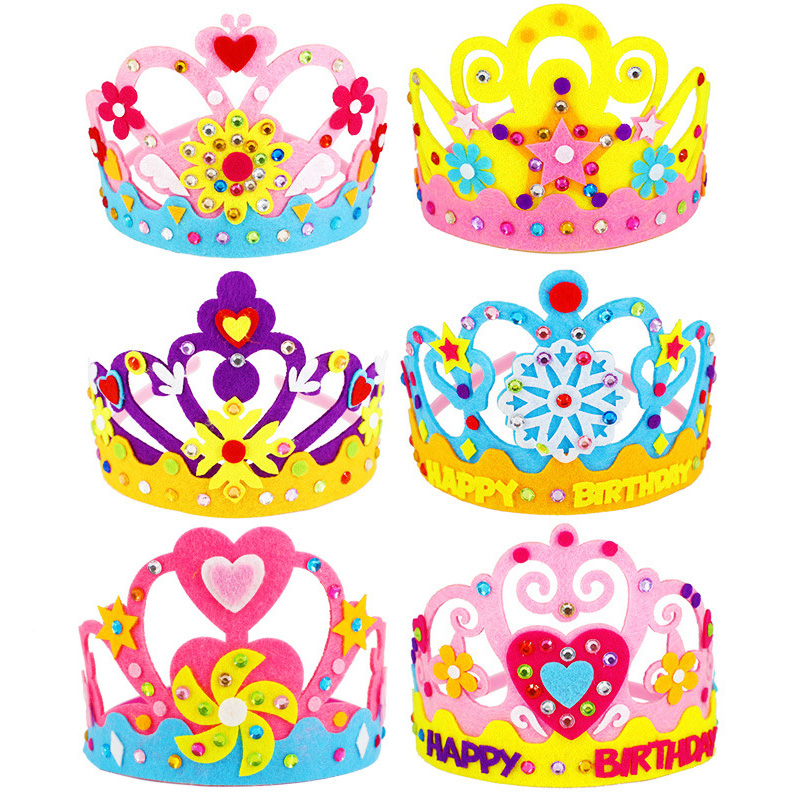 DIY Crafts Toy Crown Creative Paper Sequins Flowers Stars Patterns Toys For Kids Children Kindergarten Art Party Decorations