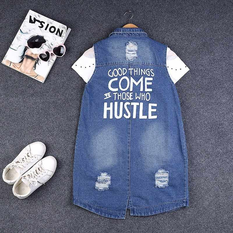 Vrouwen Gat Ripped Denim Vest Plus Size S-9XL Mouwloze Jas Vrouwelijke Brief Gedrukt Vriendje Lange Stijl Casual Jeans Vest