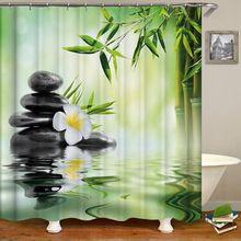 Zen Shower Curtain Home Decor 3D Bath Curtains With Hooks Green Bamboos Bathroom Zen Garden Buddha Curtain for Bathroom Or Mat