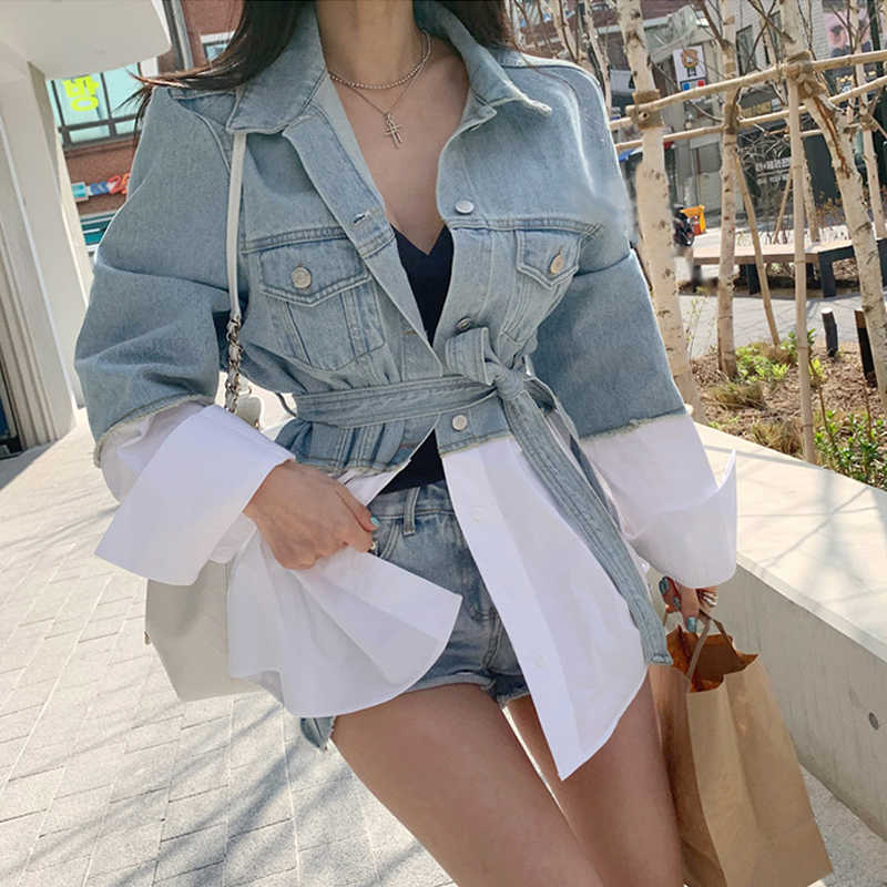 Colorfaith New 2019 Autumn Winter Women's Denim Jackets Patchwork Sashes Lace Up Outerwear High Street Fashionable Jeans JK7064