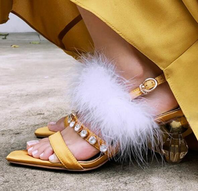 Summer Women White Bird Fur Party Sandals Rhinestone Rivets Studs Satin Straps Fashion Crystal Ball Combined Strange High Heels