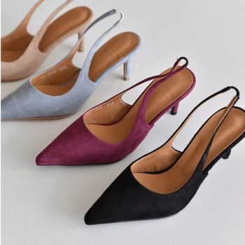 8CM Women Shoes Middle Kitten Heels Slingback Dress Pumps Ladies Bow Knot Blue Black Red Court Christian Party Dance Shoes