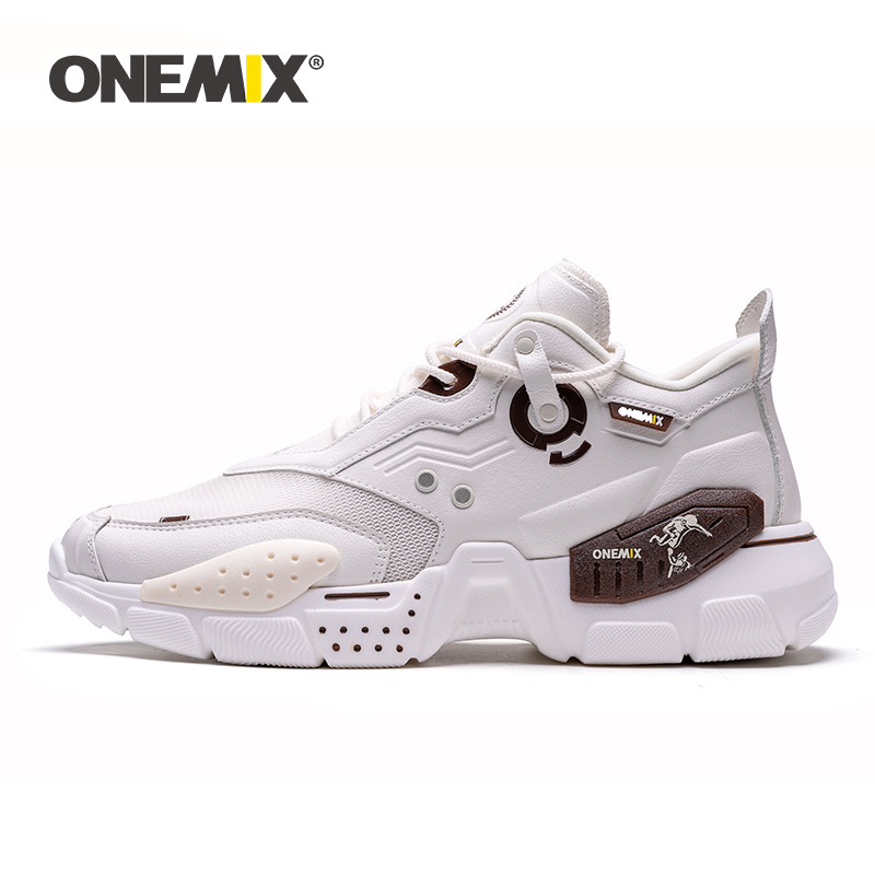 ONEMIX Sneakers Men Air Running Shoes Cushion Leather Damping Trainers Tennis Sports Sneakers Outdoor Travel Jogging Footwear
