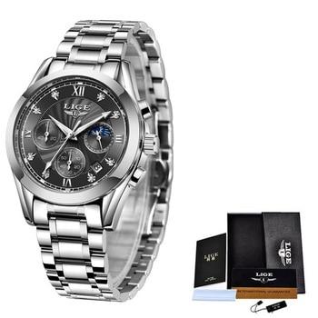 LIGE 2021 New Fashion Watch Women Watches Ladies Creative Steel Women Bracelet Watches Female Waterproof Clocks Relogio Feminino 7