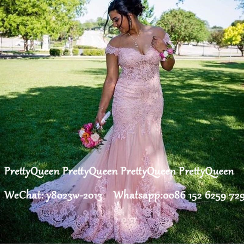 Colorful Pink Lace Mermaid Wedding Dresses With Appliques 2020 Off Shoulder Long Bridal Dresses Gown Vestido De Noiva