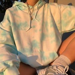 Rapwriter Casual Long Sleeve Tie Dye Hoodie Harajuku Oversize Sweatshirt Blue Winter Clothes Fashion Pullover Tops Streetwear