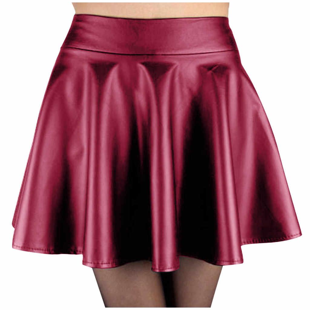 Kobiety spódnica Gothic Harajuku Faux skórzana spódnica wysokiej talii moda czarne spódnice plisowane mini 2020 lato nowe spódnice na przyjęcie