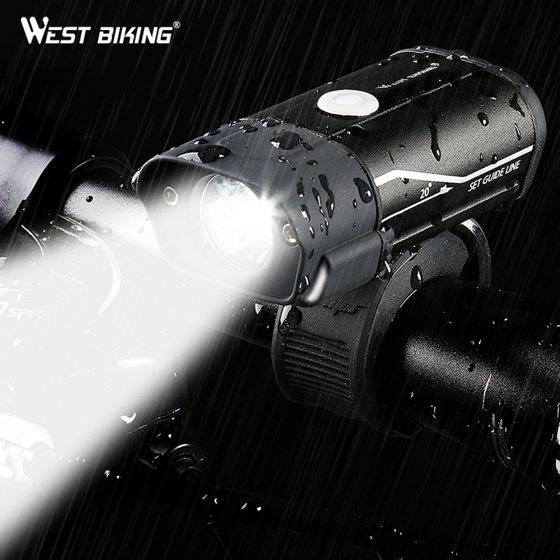 West Biking Rechargeable Bike Light MTB Led Night Bicycle Light USB Waterproof Bycicle Light Bike Front Light Running Cycling Light Equipement Cycle Accessoire Bike Headlight Flashlight For Bicycle Holder Bicycle Lamp