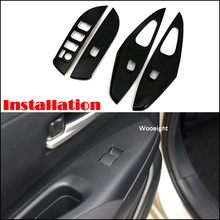 Wooeight 4Pcs Carbon Fiber Window Lift Switch Button Inside Door Handle Panel Frame Trim Cover Fit for Toyota Corolla 2019 недорого