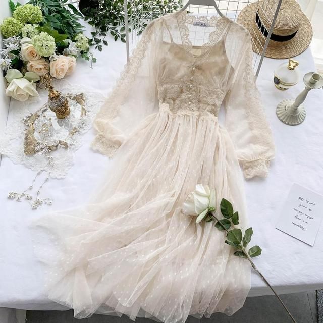 Lace Floral V Neck Long Sleeves  Polka Dot Pearls Sweet Mesh Dress 3