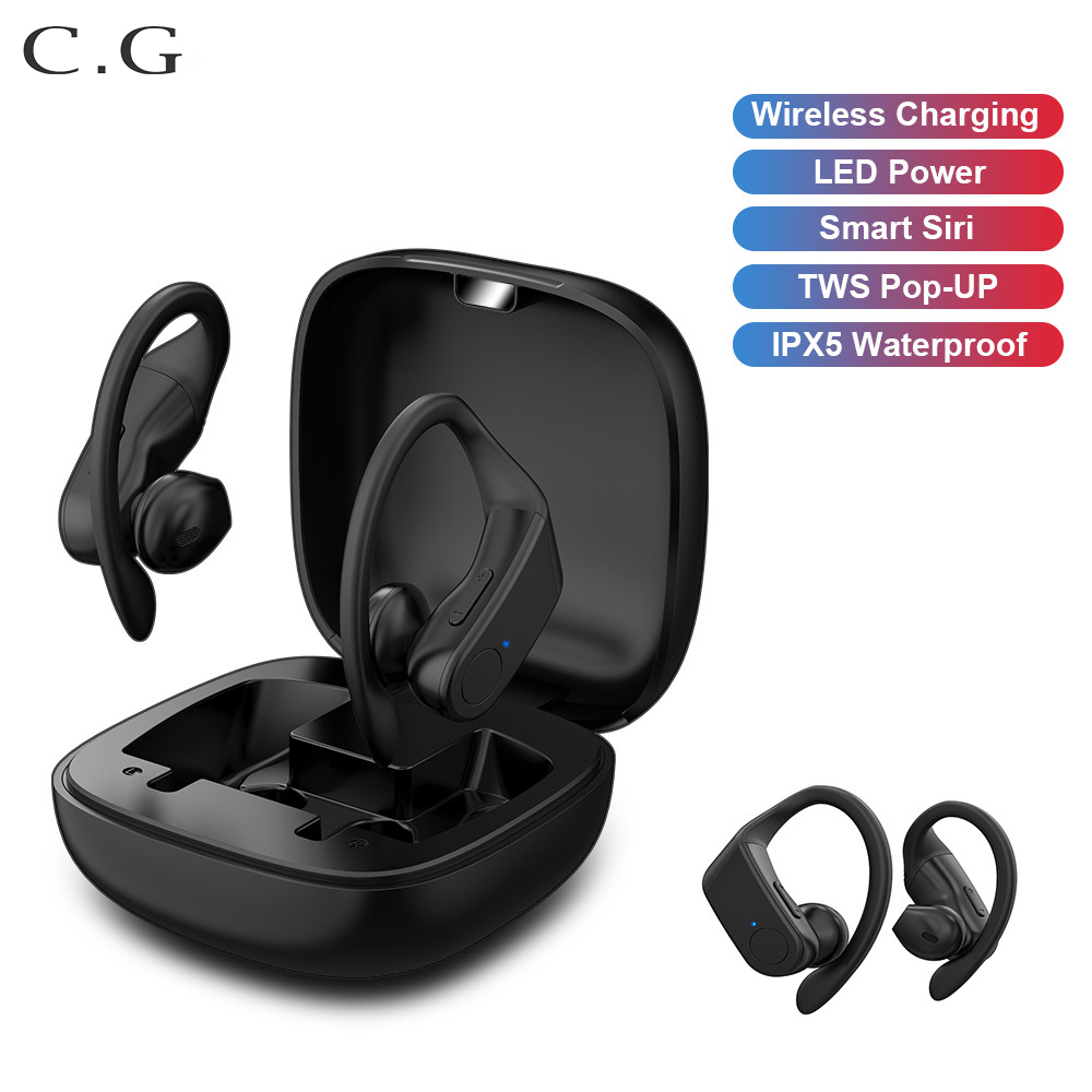 CG TWS wireless sports Bluetooth headset Semi-in-ear Wireless charging 6DHIFI Sports Water proof Music Earbuds For iPhone Xiaomi