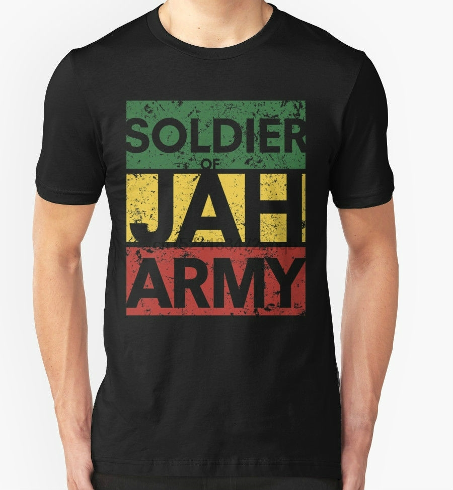 Men& Soldier of Jah Army Black T-shirt Jamaica Marley Rasta Weed  High Quality T-Shirt Fashion Tops