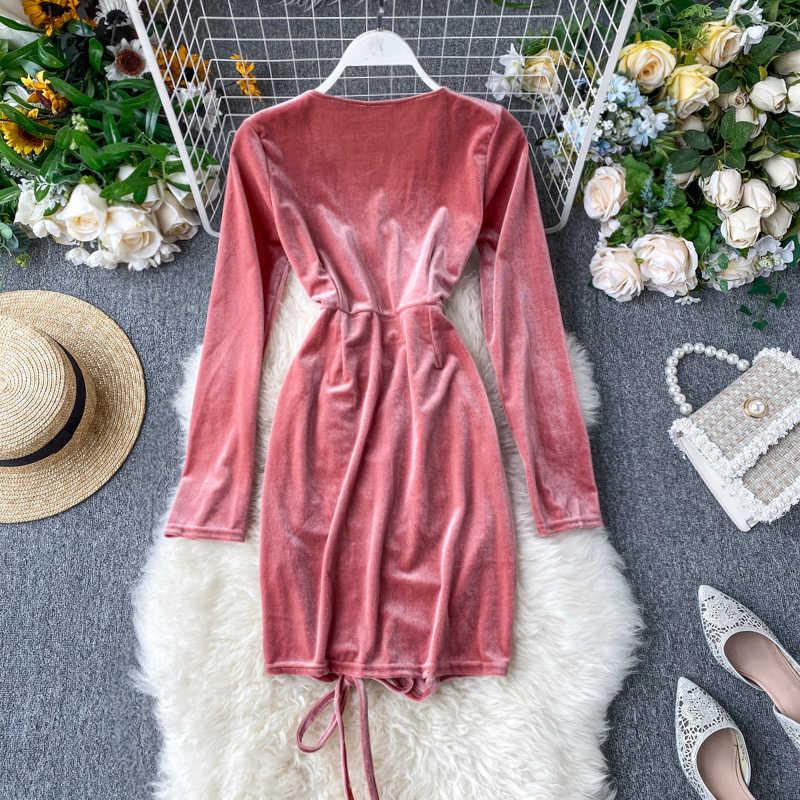 Koreański elegancki damskie sukienki wiosna lato sukienka kobiety ubrania 2020 Bodycon Sexy aksamitna sukienka Vestidos Ropa Mujer ZT5338