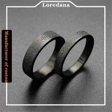 Steel-Rings Stainless-Steel Titanium Black Lovers Grinding Women's for Simple High-Grade