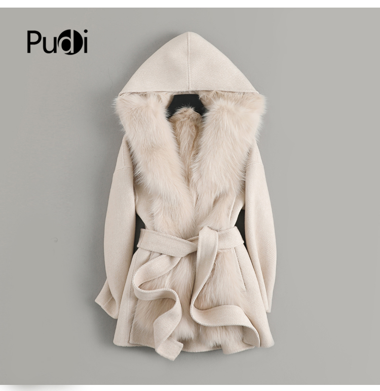 Women real wool Fur coat jacket lady female natural fox fur lining with hood Winter long double face coats parka trench z19168
