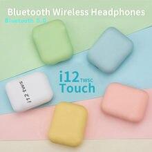 I12 tws venda quente para iphone 12 fones de ouvido bluetooth original sem fio com caixa carregamento macaron tws pk i9s i7