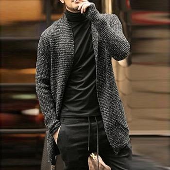 Sweter męski z długim rękawem sweter styl angielski sweter odzież moda gruby ciepły moherowy sweter męski swobodny sweter sweter tanie i dobre opinie BIRGHWATER CHINA Brak Standardowy wełny WYYX358 Poliester Akrylowe Stałe V-neck Na co dzień NONE Komputery dzianiny Cardigan