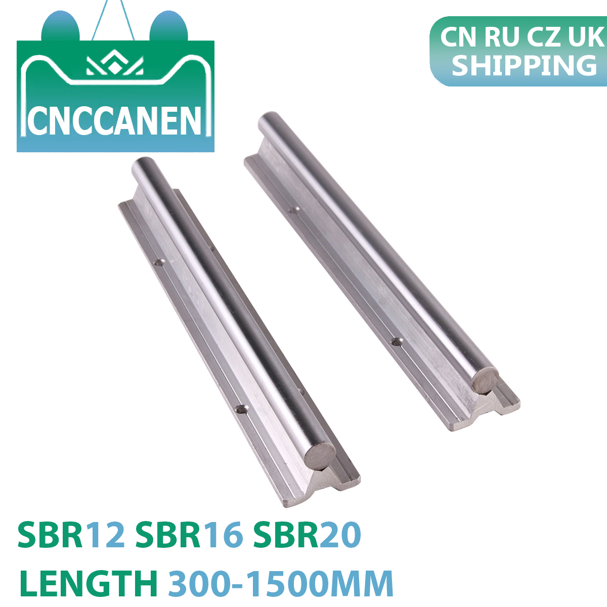 2PCS SBR12 SBR16 SBR20 12mm 16mm 20mm Linear Guide Rail Length 300-1500mm Fully Supported Linear Rail Shaft Rod For CNC Parts
