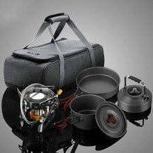 10 шт./компл. набор посуды для кемпинга горшок Сплит газовая плита горелки для пикника портативная горелка плита набор головка Плиты набор горшок чайник на открытом воздухе