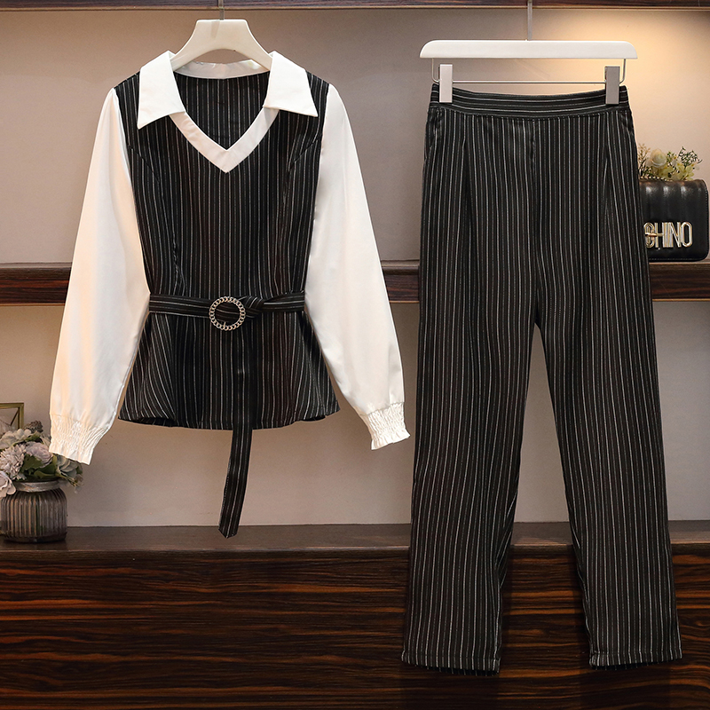 2019 New Striped Two Piece Set Top And Pants Set Plus Size Lounge Wear Autumn Clothes For Women Korean Style