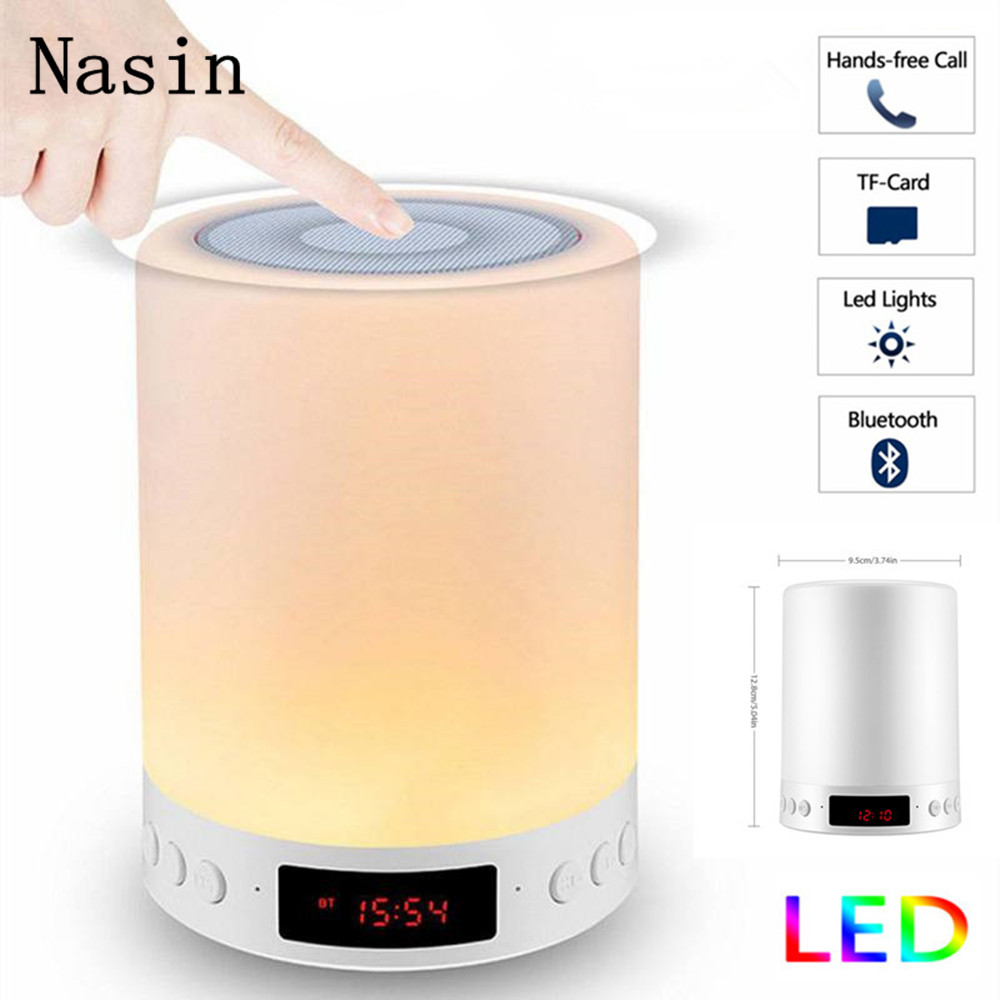 Nasin Night Light with <font><b>Bluetooth</b></font> <font><b>Speaker</b></font> Wireless Portable <font><b>Bluetooth</b></font> Touch Color Control LED Bedside Table Lamp TF Card <font><b>speaker</b></font> image