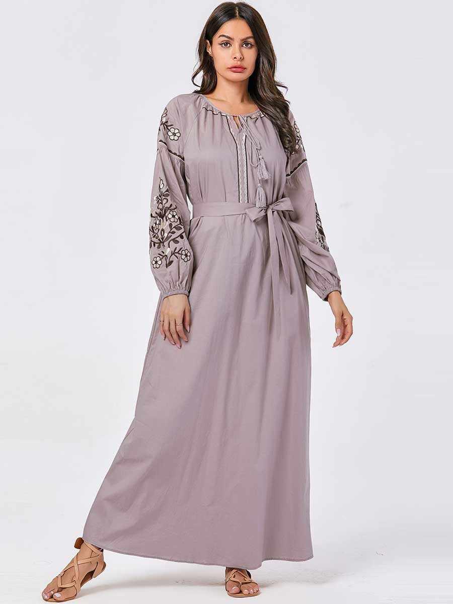 자수 붕대 이슬람 드레스 여성을위한 두바이 Abayas 터키 터키 Caftan Marocain Kaftan 이슬람 의류 방글라데시 로브