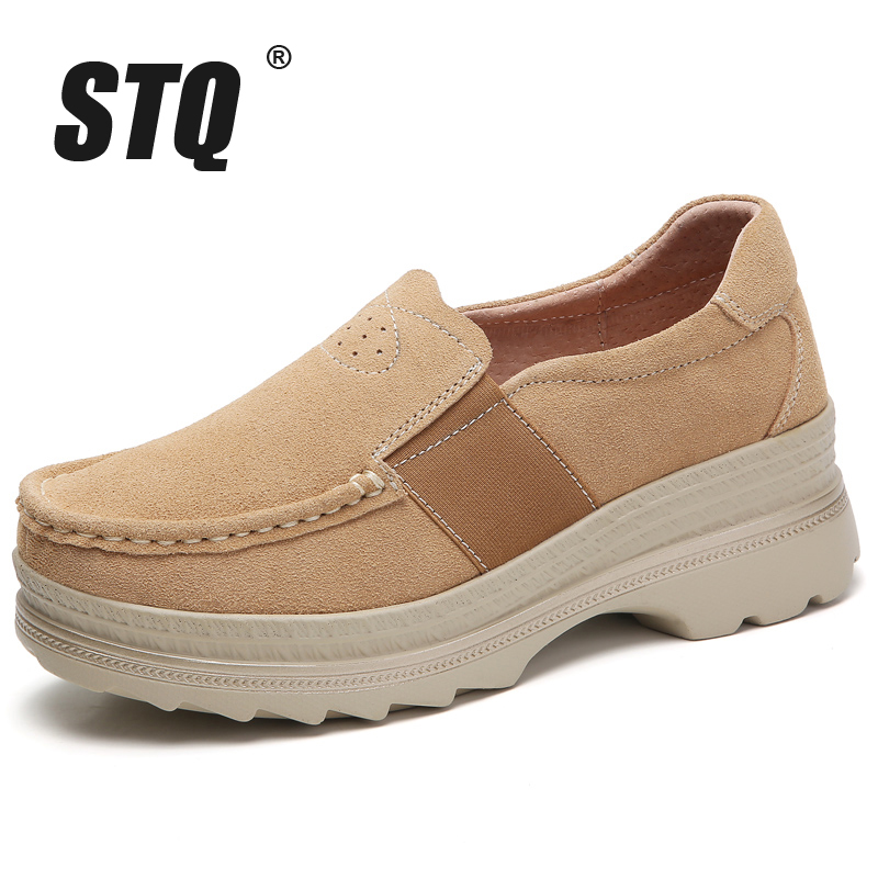 Image 2 - STQ 2020 Autumn Women Platform Sneakers Shoes Oxford Shoes For Women Slip On Loafers Shoes Casual Flat Sneakers Shoes 5068Womens Flats   -