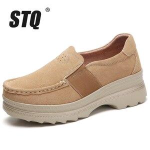 Image 2 - Женские кроссовки на платформе STQ, 2020 черный цвет, оксфорды, слипоны, лоферы, повседневные, плоская подошва, на осень, 5068