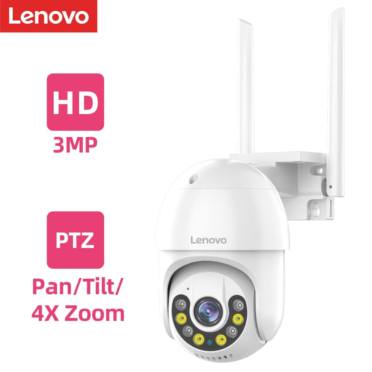 Lenovo 3MP PTZ IP Wi-Fi камера на открытом воздухе 4X цифровой зум ночное полный цвет беспроводной P2P камера охранного видеонаблюдения для два способа ...