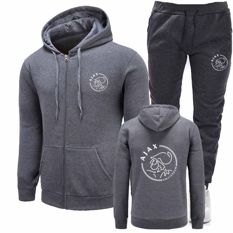 New 2019 Brand Tracksuit Fashion Hoodies Men Sportswear Two Piece Sets hip hop Fleece Thick hoodie+Pants Sporting Suit Male