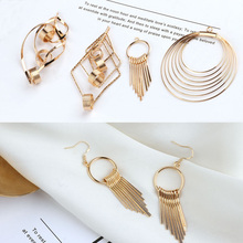 2pcs fashion gold metal tassel earrings for women pendant geometric dangle simple jewelry accessories