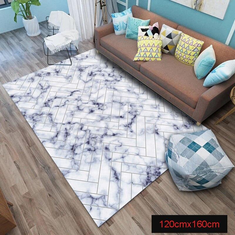 Tapis de sol nouvellement doux marbre lignes géométriques dorées marbrant décor à la maison tapis de sol tapis absorbant l'humidité VA88