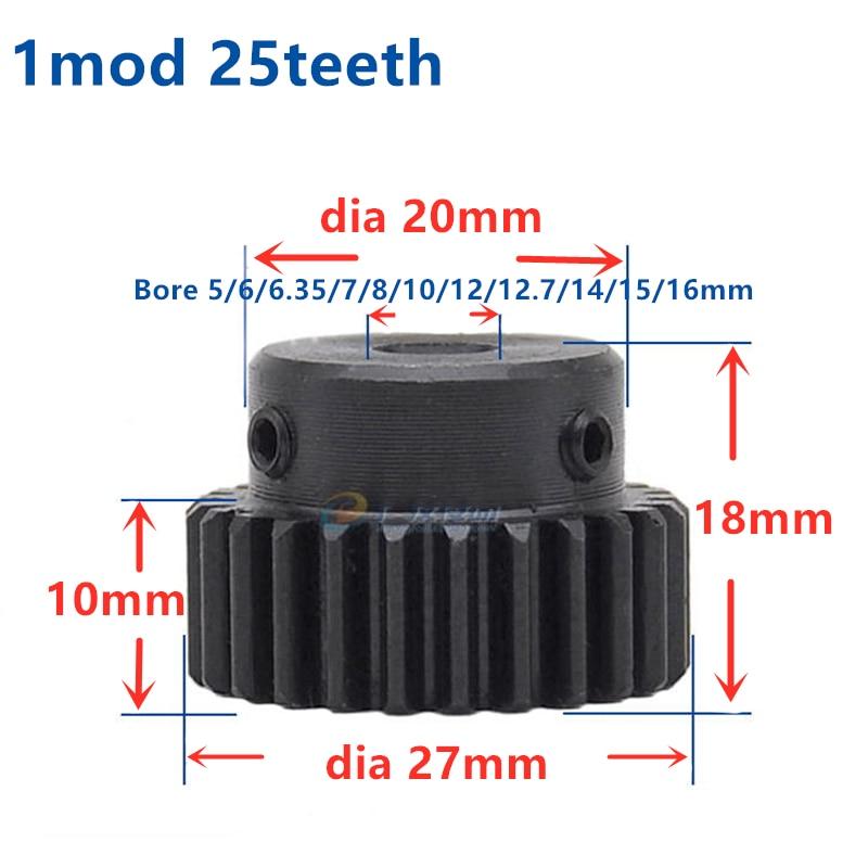 Mod 1 M=1 CNC Spur Gear Pinion 25T 25Teeth Right Teeth Positive Gear Gear Steel Gear Rack Transmission RC