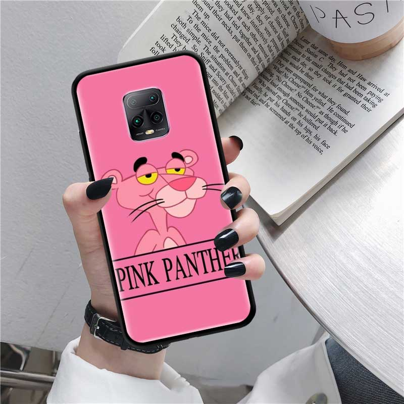Black Tpu Capa For Xiaomi Redmi Note 8 9S 8T 9 7 10X 5G K30 Pro Zoom 7A 8A K30i Cover Phone Cases Cartoon Pink Panther