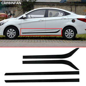 Car Styling Carbon Fiber Decal Car Side Skirt Sticker Automobiles Accessories For Hyundai Solaris Verna 2012 2013 2014 2015