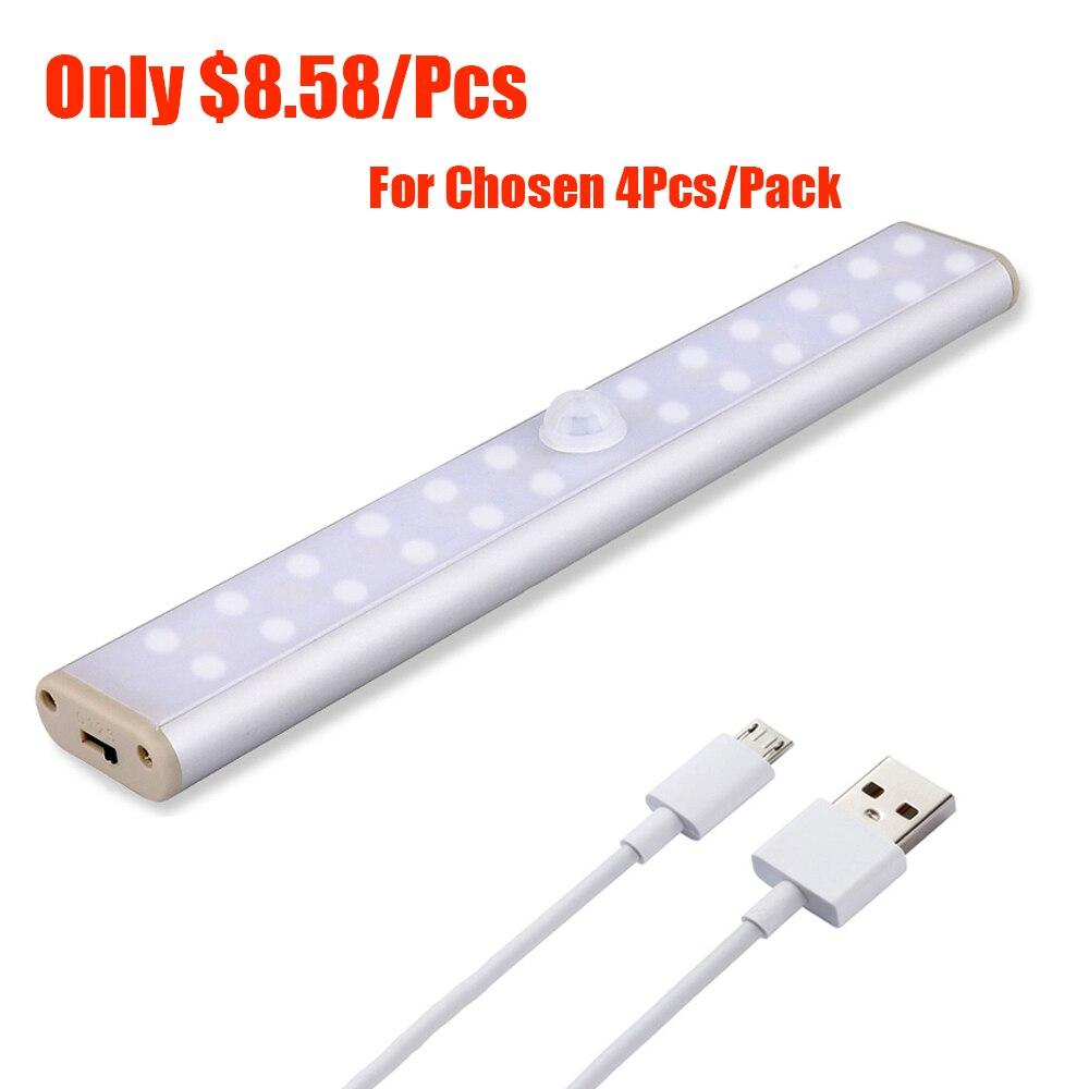 LED Lights With Motion Sensor For Closet Wireless Cabinet Light Motion Sensor Lamp USB Rechargeable Kitchen Wardrobe Closet Lamp
