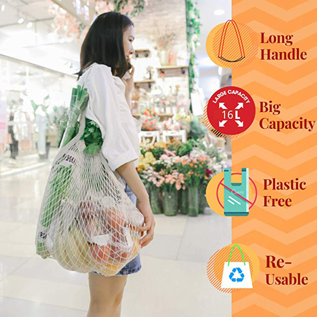 Eco Friendly Woven Mesh Bag Shopping Shopping Storage Bag Ecology Reusable Grocery Shopper Portable Cotton Portable Mesh Durable 2