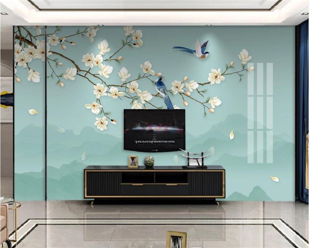 beibehang European mural wallpaper 3D Magnolia bird TV background wallLiving room sofa bedroom decoration mural 3d wallpaper