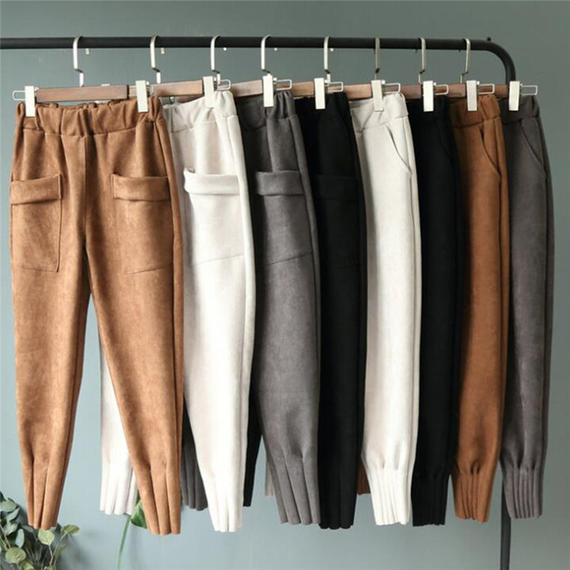 New Autumn Harem Pants Quality Warm Woolen Trousers Casual Loose Solid Color Pants Fashion High Waist Thick Pants For Female