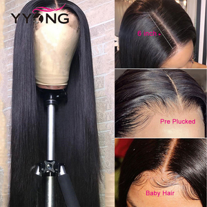 YYong Peruvian Straight 1x4 & 13x6 T Part HD Transparent Lace Front Wigs Remy Lace Frontal Human Hair Wig Mid-Part 120 30 32inch(China)