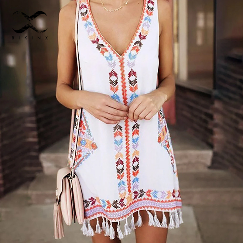 Sleeveless Boho Bikini 2020 Tassel Woman Swimsuit Cover-ups Sexy Beach Dress Women Summer Beach Wear V-neck Plus Size Kimono New