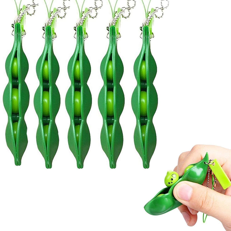 Keychain Bean Fidget Pea-Stress Improve Squeeze Edamame Squishy Focus-Toy Relief Key-Pendant