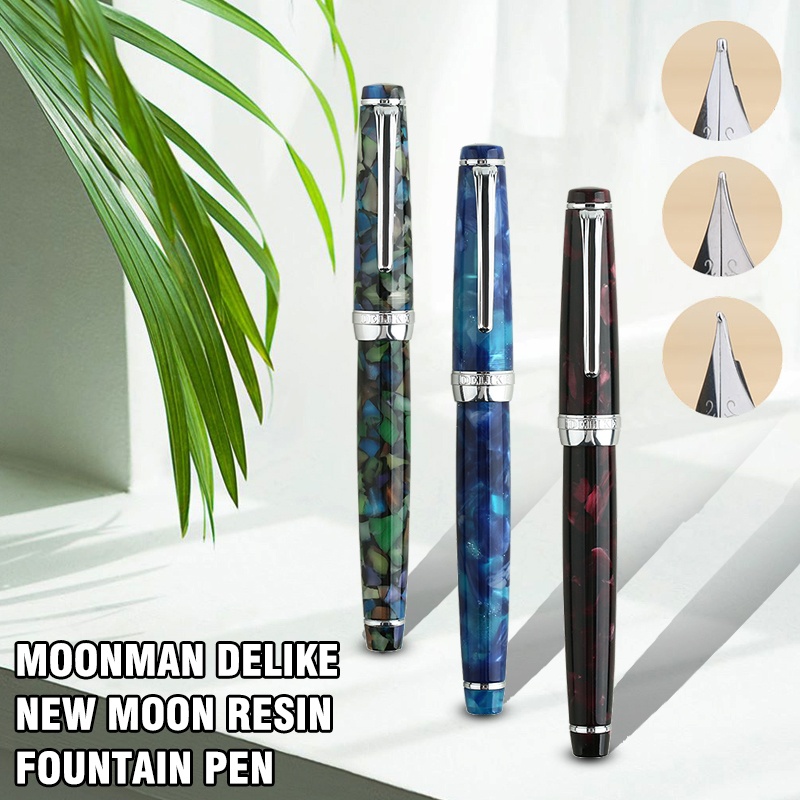 Fountain Pen Ink Full Metal Clip Pens Moonman Delike New Moon Resin Fountain Pen Iridium Extra Fine Nib School Office Supplies