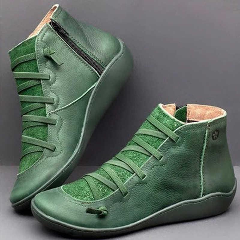 Kadın Botas Mujer kadınlar PU deri yarım çizmeler kadın sonbahar kış çapraz gladyatör ayakkabı Vintage kadınlar serseri çizmeler düz bayan ayakkabıları