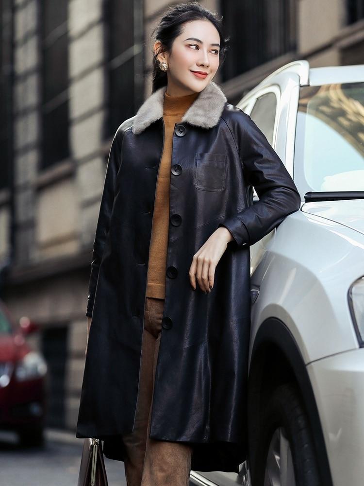 Leather Genuine Jacket 2020 Winter Jacket Women Mink Fur Collar Long Down Jackets For Women Real Sheepskin Coat MY3938 S