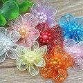 20 шт U pick органзы ленты банты с цветами w/бусины Аппликации Свадебное Ремесло A011 - фото