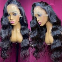 Wigirl 28 30 дюймов объемная волна 13x6 Синтетические волосы на кружеве парики из натуральных волос на кружевной основе бразильские предварительн...