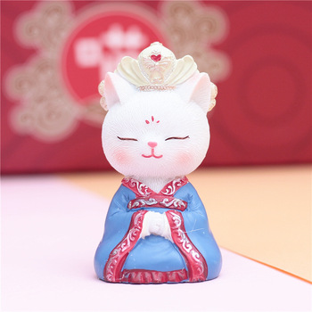 10 different looks retro emperor cat hanfu cute cat blind box Valentine gift boy girl toy decoration car shaking head decoration head shaking cute cat style toy for car decoration white