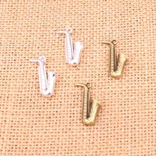 10Pcs Antique Silver Bronze Horn Saxophone Charms DIY Necklace Pendant Making Findings Handmade Jewelry 26*21mm(China)