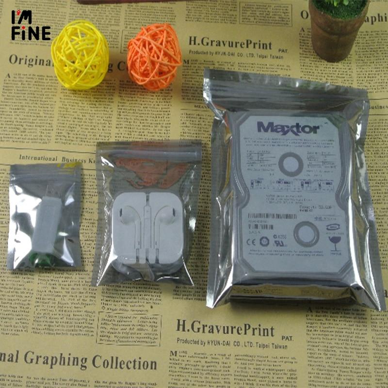 100 pçs/lote saco de armazenamento de alumínio antiestático zip lock resealable anti estática bolsa para acessórios eletrônicos pacote sacos